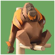Papercraft imprimible y armable de un Orangután de Sumatra. Manualidades a Raudales.