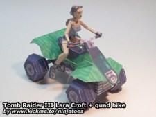 Papercraft de Tom Raider - Lara Croft en un quad. Manualidades a Raudales.