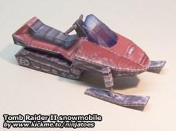 Papercraft de Tom Raider de una motonieve. Manualidades a Raudales.
