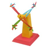 Papercraft imprimible y armable de una Torre molinete con aviones. Manualidades a Raudales.