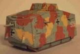 "Papercraft recortable Tanque A7V ""Baden I"". Manualidades a Raudales."