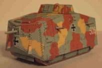 Papercraft imprimible del Tanque A7V. Manualidades a Raudales.