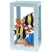 Papercraft imprimible y armable de un Acuario con peces Ídolo Moro / Aquarium: Moorish Idol. Manualidades a Raudales.