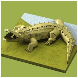 Papercraft imprimible y armable de un cocodrilo cubano. Manualidades a Raudales.