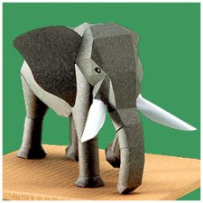 Papercraft imprimible y armable del elefante africano / African Elephant. Manualidades a Raudales.