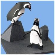 Papercraft imprimible y armable del Pingüino del Cabo / Cape Penguin. Manualidades a Raudales.