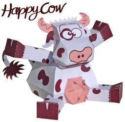 Papercraft recortable de una vaca feliz. Manualidades a Raudales.