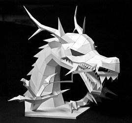 Papercraft imprimible y recortable de un Dragón asiático. Manualidaes a Raudales.