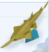 Papercraft imprimible y armable del Pez Sierra Enano / Dwarf Sawfish. Manualidades a Raudales.