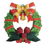 Papercraft imprimible y armable de una Corona de navidad para decorar / Xmaswreath. Manualidades a Raudales.