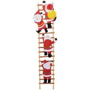 Papercraft imprimible y armable de Santa Claus subiendo por una escalera. Manualidades a Raudales.