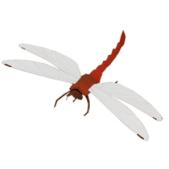 Papercraft imprimible y armable de una Libélula Roja / Red Dragonfly. Manualidades a Raudales.