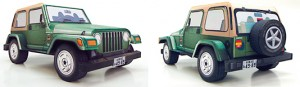 Papercraft imprimible y armable del coche Jeep Wrangler. Manualidades a Raudales.