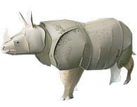 Papercraft imprimible y recortable de un Rinoceronte Indio. Manualidades a Raudales.