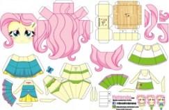 Papercraft de Fluttershy. Manualidades a Raudales.