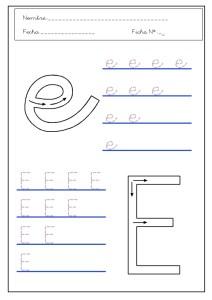 Ficha educativa de Grafomotricidad letra e.