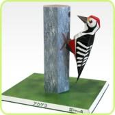 Papercraft imprimible y armable de un Pájaro Carpintero / Woodpeckers. Manualidades a Raudales.