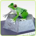 Papercraft imprimible y armable de una Rana arbórea / European tree frog. Manualidades a Raudales.