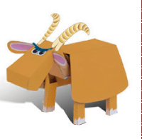 Papercraft imprimible y armable  infantil de una cabra. Manualidades a Raudales.
