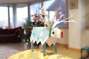 Papercraft del Reno de Papa Noel. Manualidades a Raudales.