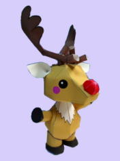 Papercraft imprimible y armable del reno Rudolph. Manualidades a Raudales.