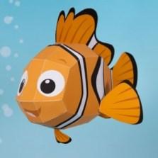 Papercraft imprimible y recortable del famoso Nemo de Disney. Manualidades a Raudales.