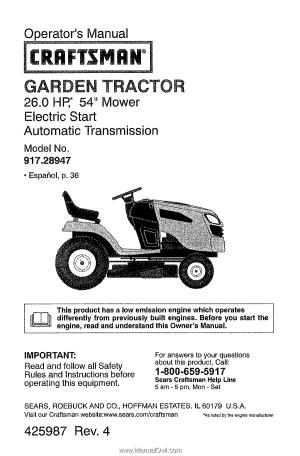 Craftsman 28947 | Operation Manual