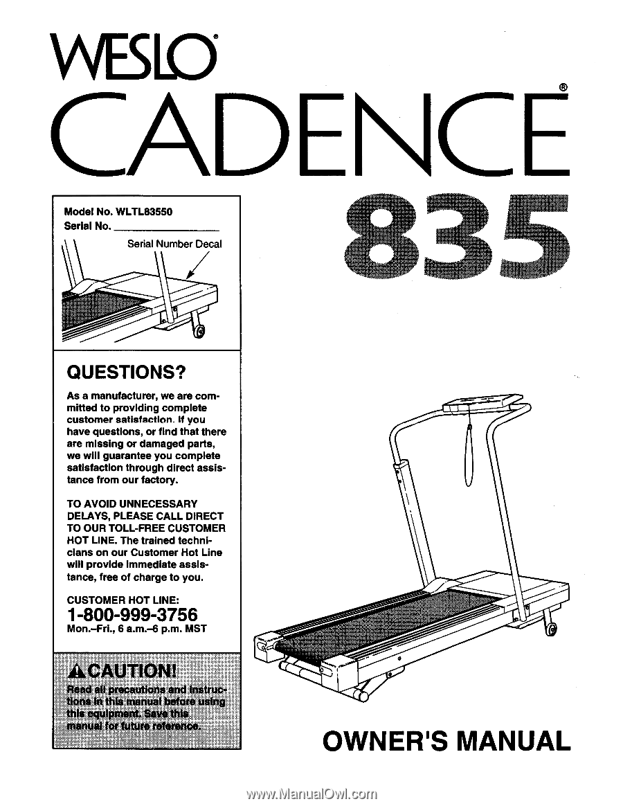 Weslo Cadence C22 Owners Manual