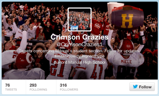 Manual seniors tweet news and updates about Crimson sports at https://twitter.com/CrimsonCrazies1