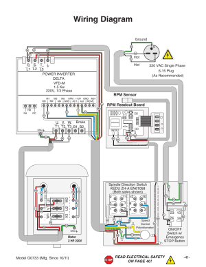 Wiring diagram, Rpm sensor rpm readout board | Grizzly 18