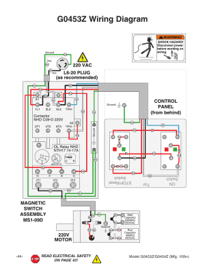 G0453z wiring diagram, 220v motor | Grizzly G0453PX User