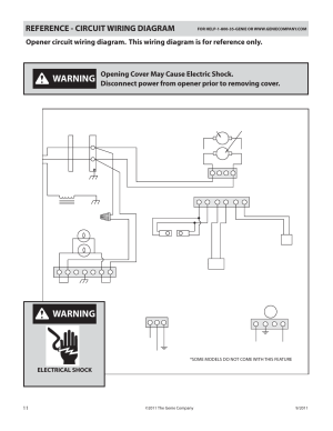 Warning, Reference  circuit wiring diagram, Power cord | Genie SILENTMAX 1000 User Manual