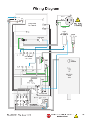 Wiring diagram, 110 vac | Grizzly G0704 User Manual | Page