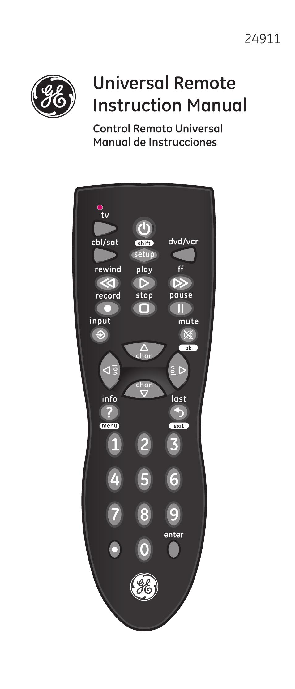 GE 24911 V2 GE Universal Remote User Manual 44 Pages