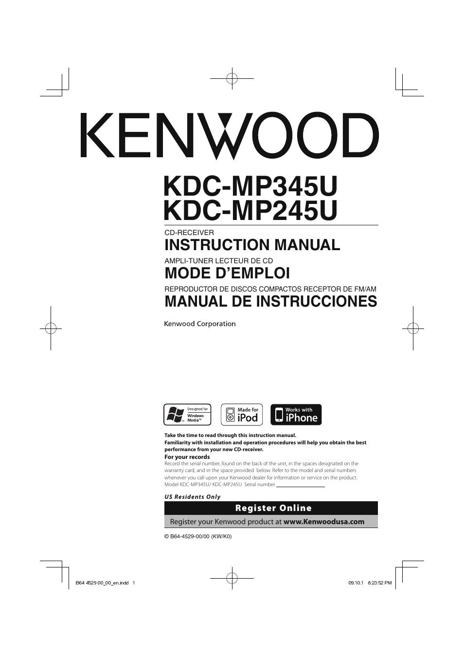 Kenwood Kdc Mp345u User Manual