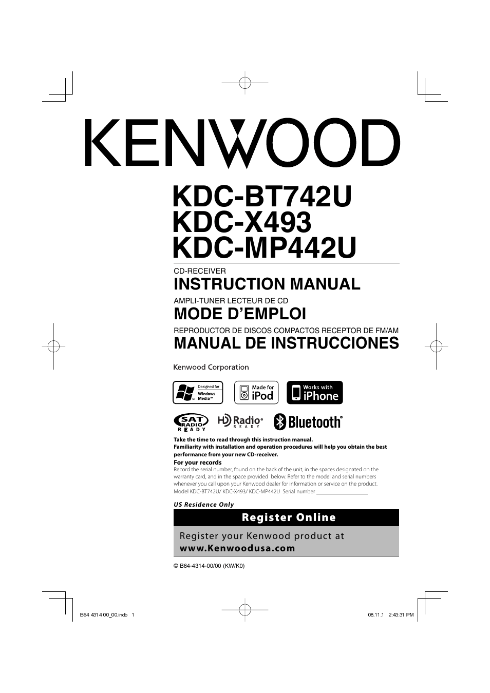 kenwood kdc bt742u page1?resize\\=665%2C940 kenwood kdc x492 wiring diagram kenwood wiring diagrams collection  at bayanpartner.co