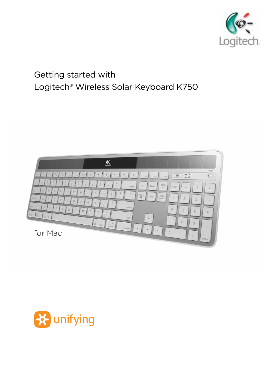 Logitech Wireless Solar Keyboard K750 User Manual 20 Pages