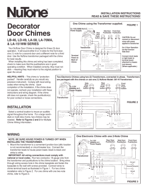 NuTone DECORATOR DOOR CHIMES LA58 User Manual | 2 pages