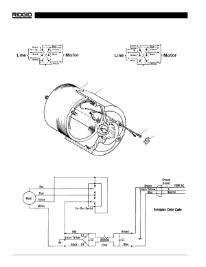Installation of brush lead wires, Wiring schematic (230v