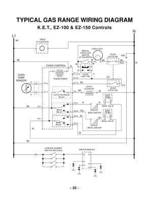 Typical gas range wiring diagram, L1 n | Whirlpool 465