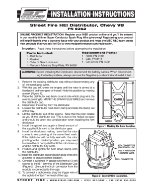 MSD 8362 Street Fire Chevrolet V8 GM HEI Distributor Installation User Manual | 2 pages
