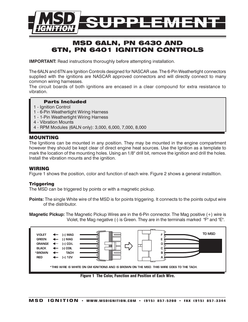 msd 6430 6aln ignition control supplement page1 tg66m3170c00 wiring diagram,m \u2022 indy500 co  at gsmx.co