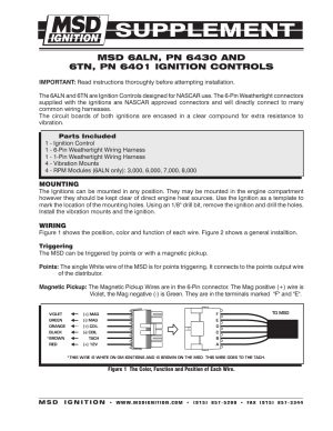 MSD 6430 6ALN Ignition Control Supplement User Manual | 2