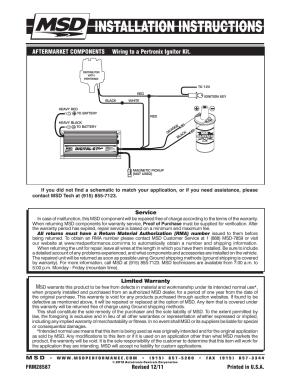 Limited warranty, Service | MSD 6520 Digital 6Plus Ignition Control Installation User Manual