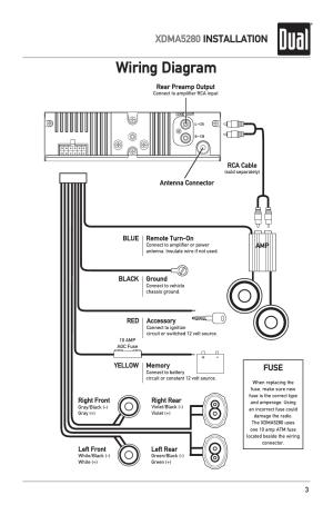 Wiring diagram, Xdma5280 installation, Fuse | Dual
