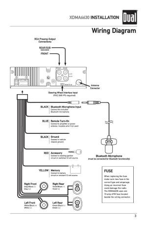 Wiring diagram, Xdma6630 installation, Fuse | Dual Electronics XDMA6630 User Manual | Page 3  32