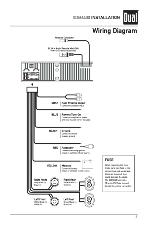 Wiring diagram, Xdm6400 installation | Dual Electronics