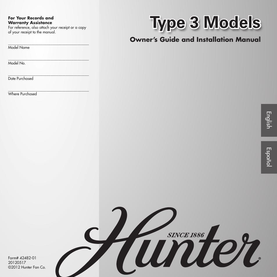 Hunter Fan Type 3 Models Fairhaven 22549 Wiring Diagram