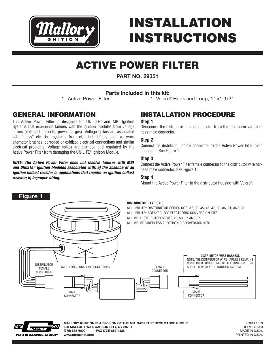 Mallory Msd 6a Wiring Diagram Diagrams Hei Distributor 6021 Ignition 6al American Harness