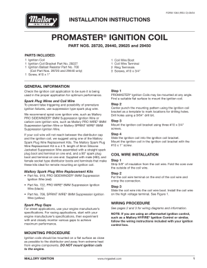 Mallory Ignition Mallory PROMASTER IGNITION COIL 29440_29450_29625_29450 User Manual   12 pages